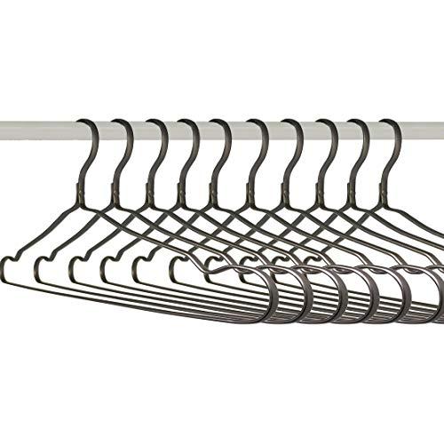 Kleiderbügel Aluminium Metall Grau Samt Für Rücke Hosen Hemden Flach Filz Anzug Kleider Pillover 10 Stück Von Kosmos Kaufhaus 43CM