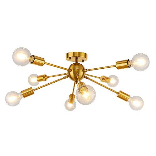 LynPon Iluminación de techo Sputnik, Lámparas de araña Moderna, 8 Luces Latón...