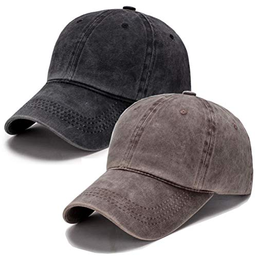 Vintage Washed Dyed Cotton Twill Low Profile Adjustable Baseball Cap (A-Coffee+Black)