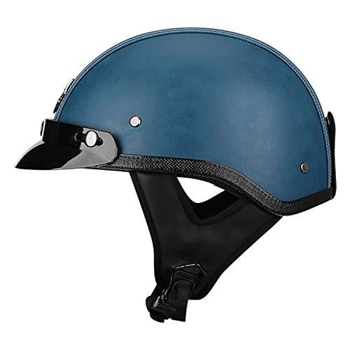 Personalidad Vintage Casco de la Motocicleta con Gafas de Sol, ABS + cuero artificial,Casco Vintage Casco De Bicicleta Casco De Moto para Hombres y Mujeres, ECE Homologado A,M