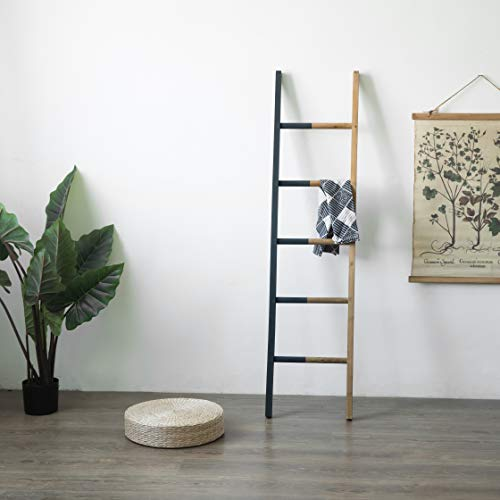FUIN 5.4 Ft Wood Wall Leaning Decorative Ladder Shelf Rack, for Blanket Quilt Towel Throws Scarves Storage, Modern Farmhouse Bathroom Bedroom, Black and Natural