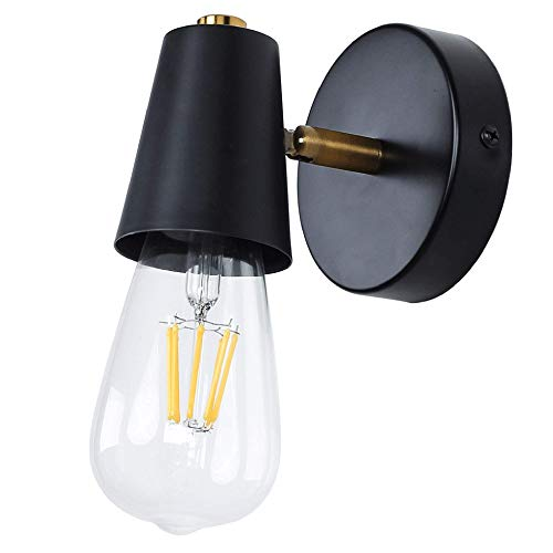 MantoLite Negro Lámparas de Pared,E27 Edison Bulbs Soporte de Lámpara Ajustable Para Aplique de Pared Iluminación de Interior Lámparas Lectura de Sala Pasillos Escaleras Luz (No Incluye Bombilla)