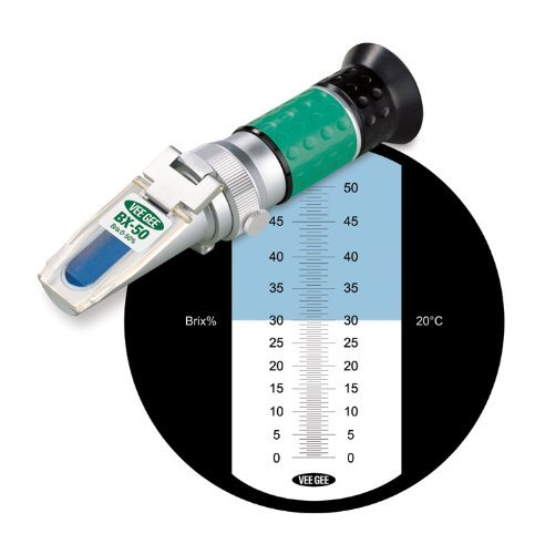 Vee Gee Scientific BX-50 Handheld Refractometer, with Brix Scale, 0-50%, +/-0.5% Accuracy, 0.50% Resolution