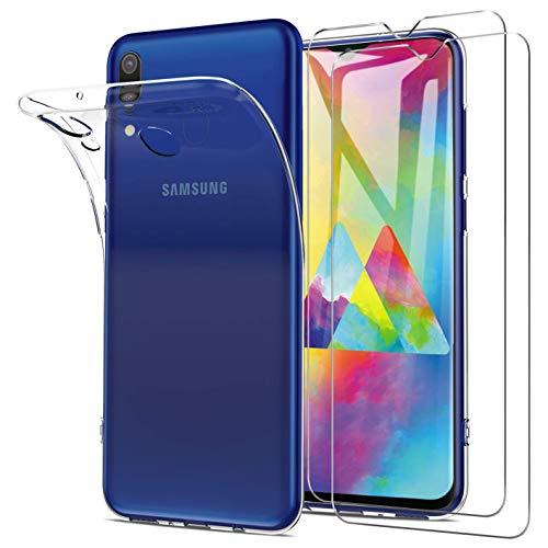Samsung Galaxy M20 Hülle + Panzerglas Set, [1 Hülle + 2 Panzerglas] Schutzhülle Handyhülle [Ultra Dünn] Schutzfolie Folie Glas 9H Panzerglasfolie TPU Silikon Hülle Cover für Samsung Galaxy M20