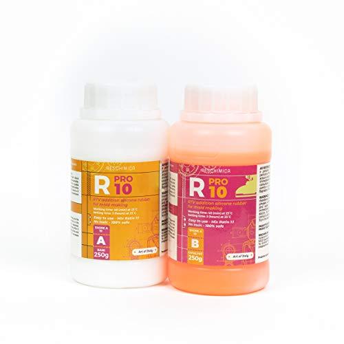 R PRO 10 es una goma de silicona, 100% segura, no tóxica, líquida endurecedora de platino, suave, alta resistencia al desgarro, fácil de usar (proporción de mezcla 1: 1) (500 g)
