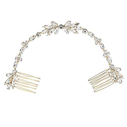 【irismile】ヘッドドレス ウェディング カチューシャ ブライダル ティアラ ヘアバンド ヘアアクセサリー 髪飾り 結婚式 (G.シルバーラインストーン)