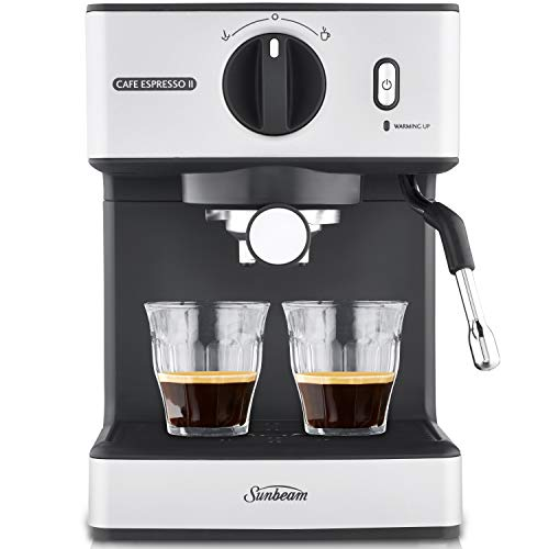 Sunbeam EM3820 Café Espresso II Coffee Machine | Espresso, Latte & Cappuccino Coffee Maker| 1.7L Water Tank | Milk Frother | 15 Bar Italian Pump | Stainless Steel Milk Jug | Silver,Black