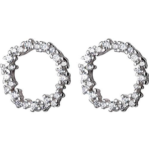 TYERY Pendientes de Plata S925, Pendientes Redondos de Diamantes Completos Coreanos Femeninos, Bonitos Pendientes Geométricos SimplesUn par, Plata 925