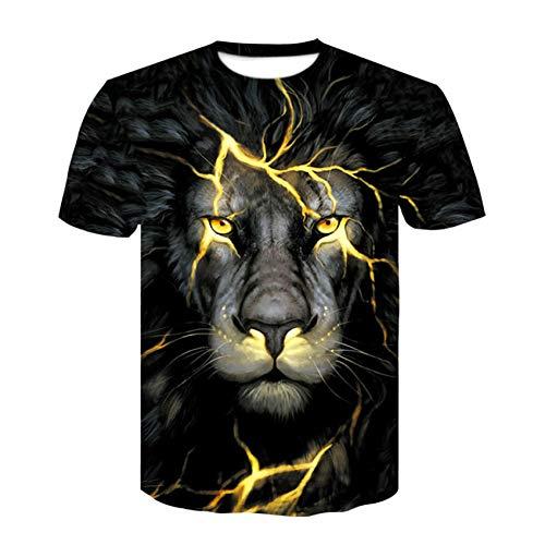 XJWDTX Cracked Lion T-Shirt À Manches Courtes Imprimé Numérique Street Style Chemise À Col Rond pour Hommes