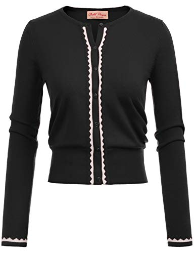 Embellished Black Cardigan Sweater