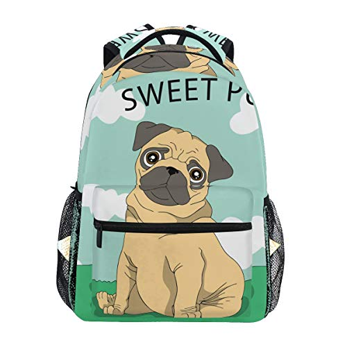 Backpack Fashion Laptop Daypack Sweet Pug Dog Funny Travel Backpack for Women Men Girl Boy Schoolbag College School Bag Canvas