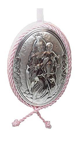 Medallon de cuna o cochecito en Plata bilaminada de la Vírgen del Carmen. Color Rosa