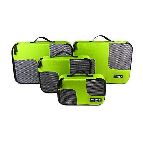 TraLight ® Packing Cubes | Packwürfel | Packtaschen | Kleidertaschen für Koffer, Reisetasche, Handgepäck, Rucksack, Sporttasche | 4 teiliges Set (Grün)
