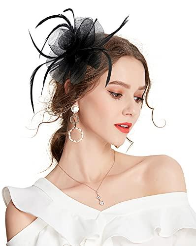 Z&X Tocado de flores de plumas para mujer, con broche de clip para el pelo, D-Negro, Talla única