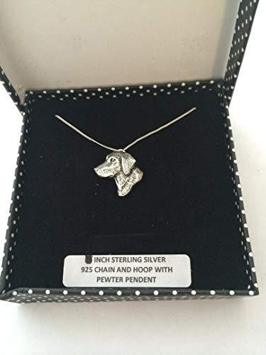 A23SM Labrador Kopf-Anhänger echt 925Sterling Silber Halskette Handarbeit 45,7cm Kette mit prideindetails Geschenk-Box