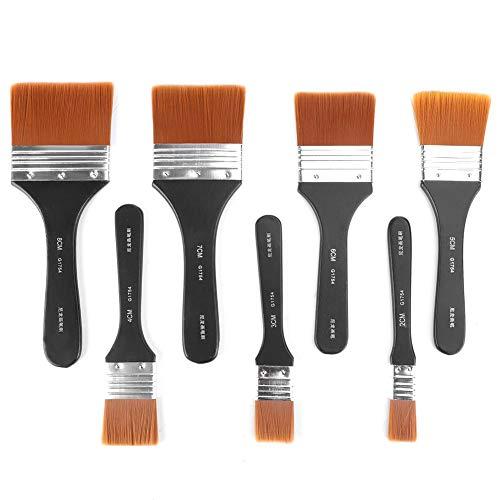 Set de pinceles de pintura de lana de nylon, 7piezas de pinceles de pintura planos de mango de madera liviano profesional KIT para principiantes artistas estudiantes pintura de acrílico al óleo sumin