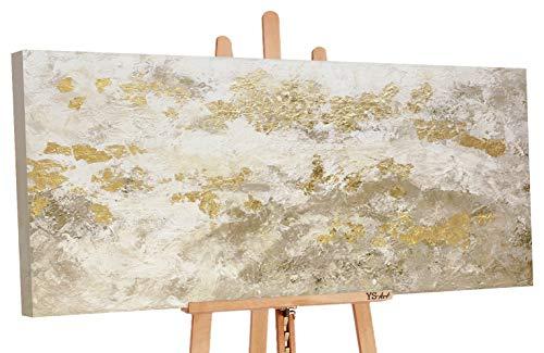 YS-Art Premium | Dipinti a Mano Colori Acrilici Glitter Oro | Quadro Dipinto a Mano | 140 x 70 сm | Pittura | Dipinti Modern | Quadri Dipinti a Mano | Beige | PS 009