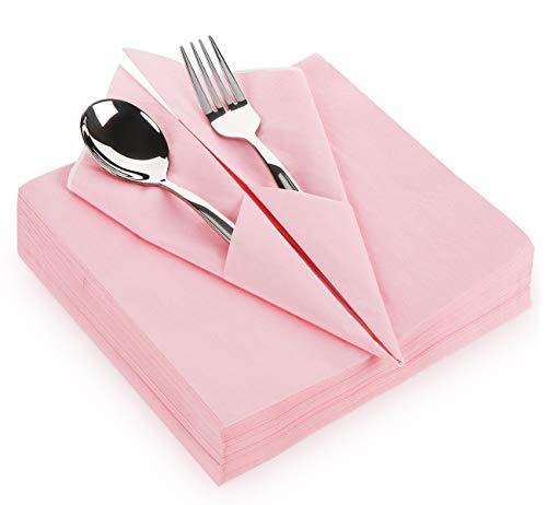 Adorfine 60 Stück Servietten Rosa, 40x40cm 3-lagig Hochwertige Einwegservietten, 100% Zellstoff Papierservietten Tischdeko, Dekorative Tissueservietten für Hochzeit Party Geburtstag Taufe andere Feste