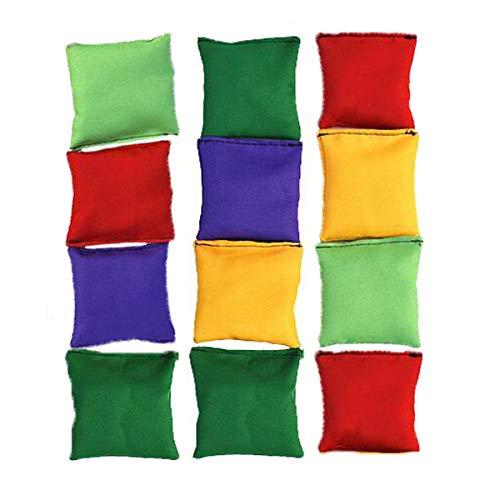 Halloluck 12 Pack 2inch/5cm Nylon Bean Bags Children Family Adults Outdoor Yard Games Bean Bag Toss Carnival Toy Bean Bag Toss Game