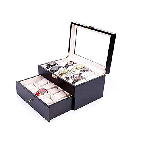 LIYONG Caja de joyería de Madera Reloj Organizador de la Caja del Reloj para la visualización y el Almacenamiento con la Parte Superior de Cristal 20 Ranuras Negras HLSJ