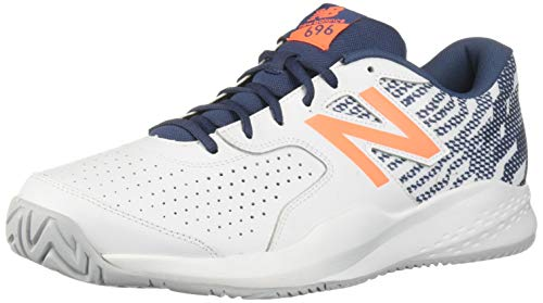 New Balance Men's 696v3 Hard Court Tennis Shoe, white/dark mango, 7 D US