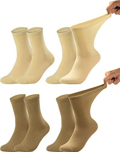 Vitasox 11121 Damen Gesundheitssocken extra weiter Bund ohne Gummi, Venenfreundliche Socken mit breitem Schaft verhindern Einschneiden & Drücken, 4 Paar Natur-Töne 35/38