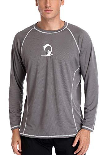Charmo Men's Rash Guard Sun Shirt UPF 50+ Long Sleeve Swim Tee Swimsuit Tops Grey M