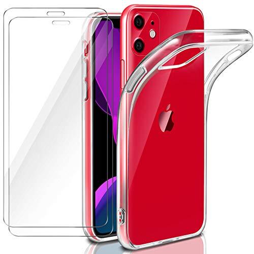 Leathlux Coque Compatible avec iPhone 11 en Transparent Silicone avec 2 Verre trempé Protection écran
