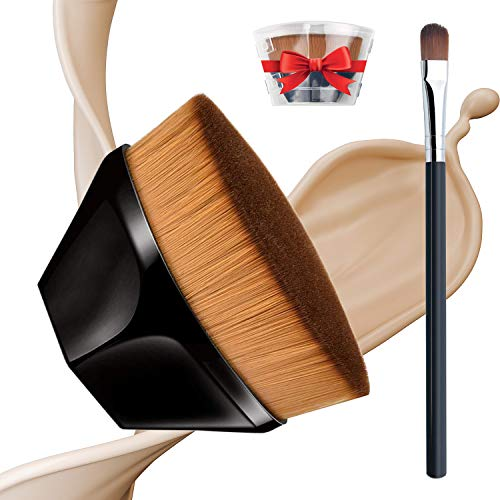 Acehome Petal-Shaped Foundation Brush, Flawless Flat Top Kabuki Hexagon Face Blush Brush Seamless Makeup Brush with Storage Case for Blending Liquid, High Gloss Liquid, Cream, Powder Cosmetics