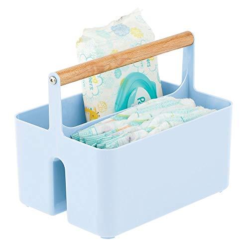 transparente mDesign Juego de 2 cajones de pl/ástico para alimentos infantiles Caja de almacenaje de pl/ástico sin BPA para bolsas de leche materna Organizador de cocina con asas y 2 apartados