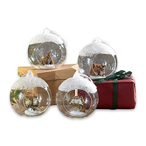 Loberon Weihnachtsschmuck 4er Set Animals, Christbaumschmuck, Glas, Ornamente: Polyresin, H/Ø ca. 9.5/8 cm, klar
