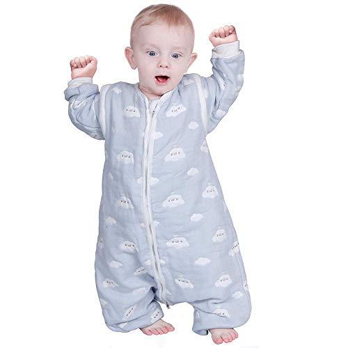 Lictin Saco de Dormir para bebés con Mangas extraíbles para bebés Niños de 3-4.5 años de 85 a 105 cm 2.0 TOG Motivo de Cielo Azul y Nubes Blancas(3-4.5 años)
