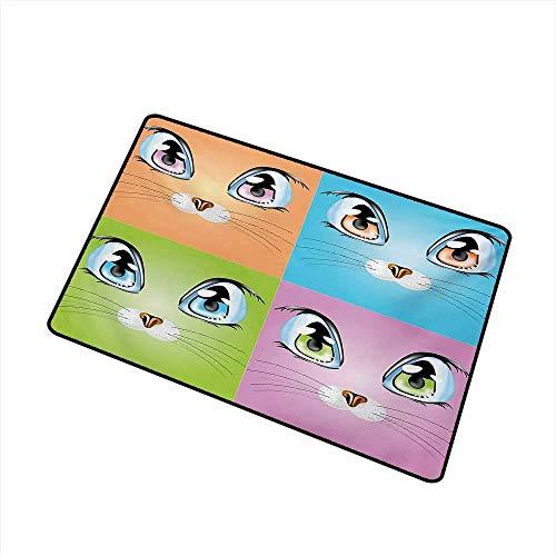 YnimioHOB Alfombra de Puerta Alfombra Big Cat Eye Imágenes con Bigotes Compañeros de Vida Leal Alfombra de Puerta Lavable a máquina Naranja Verde Púrpura Azul