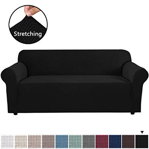 BellaHills Stretchbezüge, Sofabezüge, Möbelbeschützer mit elastischer Unterseite, Antirutschschaum, 1 Stück Couch Shield, Polyester Spandex Jacquard Stoff Small Checks (XL Sofa, Schwarz)