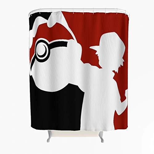 Fanaxii Pokémon Red Duschvorhang,Anti-Schimmel,Anti-Bakteriell,Mehltau-widerstandsfähiges,Blickdicht aus Stoff,Hochwertige Qualität,Waschbar,Wasserdicht,mit Duschvorhangringen white 180x200cm