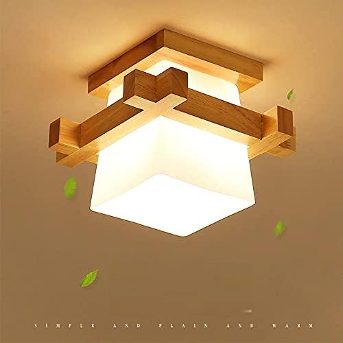 Artpad Simple Japón Tatami E27 Lámpara de madera Luz Pasillo Porche Balcón Luminarias de techo Lámpara de techo moderna de vidrio