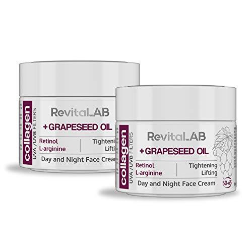 RevitaLAB - Crema hidratante antiarrugas de día y de noche con colágeno enriquecida con ácido hialurónico, L-arginina, retinoll y un filtro UVA/UVB, franja de edad 50-65, 50 ml (multipaquete)