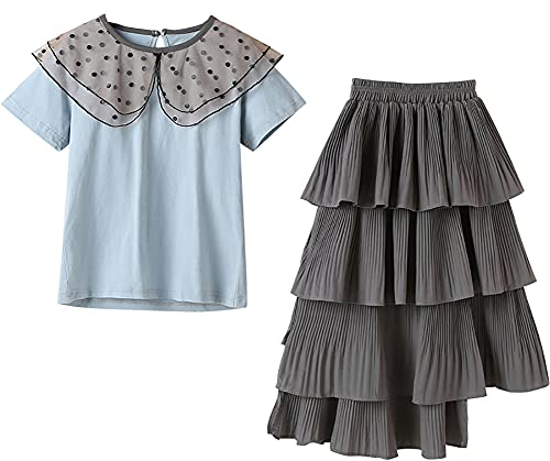 ZRFNFMA Muchachas Trajes de Verano Chicas Faldas Polka Dot TopsBig Faldas de Dos Piezas de los niños Ropa para niños Muchachas Faldas Azules blue-110cm