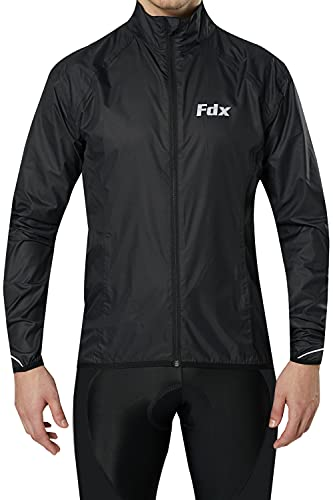 FDX Chaqueta de ciclismo para hombre, impermeable, transpirable, ligera, reflectante, de alta visibilidad, para deportes al aire libre, ciclismo, chaqueta plegable