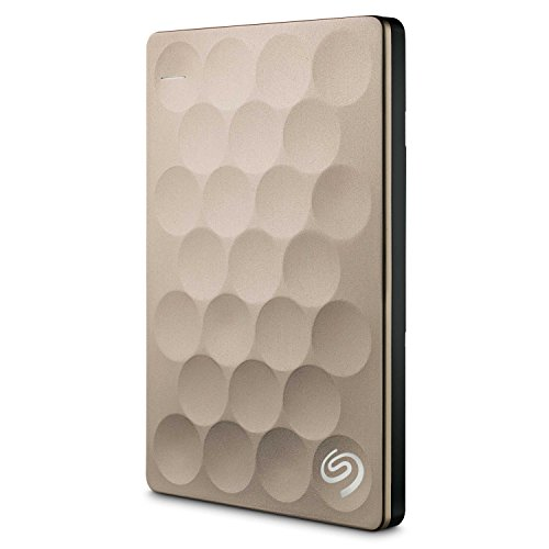 Seagate Backup Plus Ultra Slim, 2 TB, tragbare externe Festplatte, 2.5 Zoll, USB 3.0, PC, Notebook & Mac, gold, Modellnr.: STEH2000201