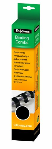 Fellowes Plastic Comb Binding Spines, 1/2 Inch Diameter, Black, 90 Sheets, 25 Pack (52323) Photo #3
