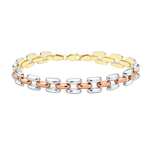 TJC 9ct Multi Coloured Gold Chain Bracelet for Women with Lobster Claw Clasp Size 7.5 Inches Solid Plain Jewellery in Glossy Finish, Wt. 8.5 Grams