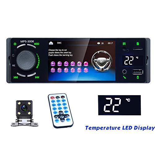 PolarLander Radio de Coche Pantalla táctil 1 DIN Bluetooth Temperatura Disply Mirror Link Autoradio MP5 Reproductor de Video USB AUX Audio Estéreo Cámara de visión Trasera