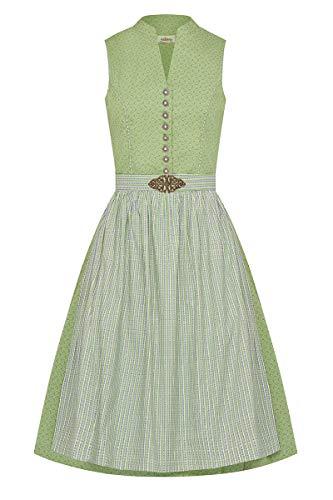 Almsach klederdracht Midi Dirndl 65 cm groen patroon crème Dani 009495, hooggesloten, retro-dirndl, filigraan bloemenpatroon, oudzilveren metalen knoppen, gestreepte schort