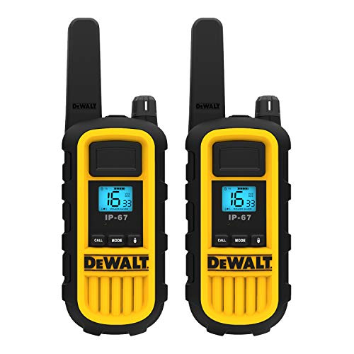 DeWalt DXPMR800 Heavy Duty Professional Walkie Talkie PMR Radio with Up to 15 Floors/10km Range, License Free-Black and Yellow, Black & Yellow, 2 Pack