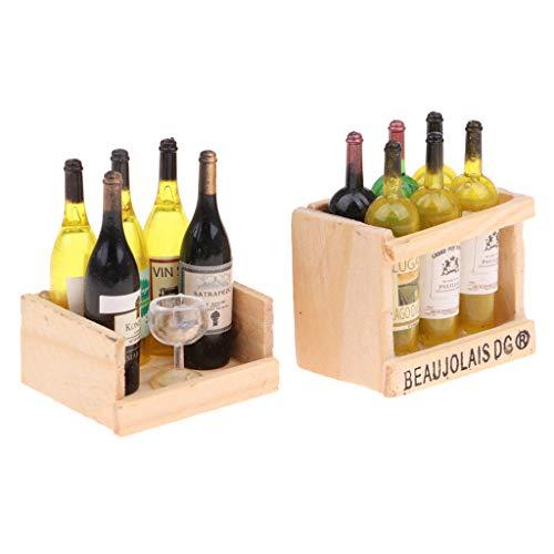 sharprepublic Juego de Tazas de Botellas de Vino en Miniatura con Estante de Madera 1:12 Accesorio de Casa de Muñecas 2 Juegos - C