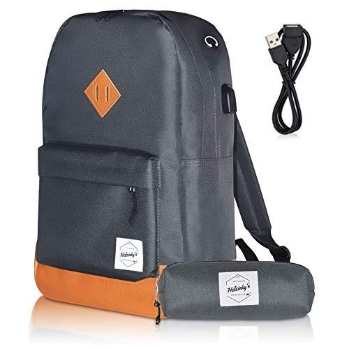 Helsinky's Schulrucksack Jungen Teenager für Damen und Herren, Laptop Rucksack, Freizeit für Mädchen und Jungen, Rucksack Herren mit USB Ladegerät