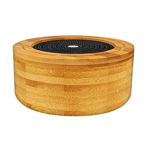 Saturn - Diffusore ad ultrasuoni in vero legno di bamboo con luce cromoterapica - Utilizzabile con sinergie di oli essenziali