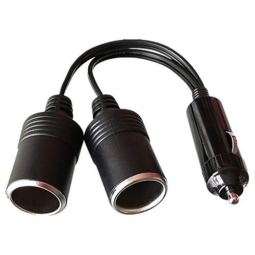 GTIWUNG 12 V/24 V Cable de Extensión para Mechero de Coche, Encendedor de Cigarillo Macho a Hembra, Toma de Mechero para Coche, Enchufe Adaptador de Conector de 1 a 2 con el indicador