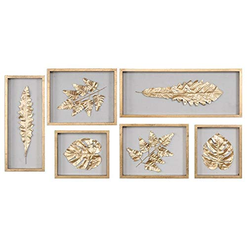 Uttermost Grace Feyock 6 Piece Leaf Wall Art Set in Gold